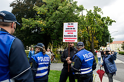 September 2, 2017 - Wurzen, Saxony, Germany - Right- wing counter protesters in Wurzen, Germany on 2 September 2017. About 400 people of the Antifa-Alliance ''somewhere in Germany'' demonstrated against neo-Nazi structures in the region during the ''day of saxony' (Credit Image: © Markus Heine/NurPhoto via ZUMA Press)