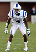 CHARLOTTESVILLE, VA- NOVEMBER 12: Safety Walt Canty #4 of the Duke Blue Devils stands on the field during the game against the Virginia Cavaliers on November 12, 2011 at Scott Stadium in Charlottesville, Virginia. Virginia defeated Duke 31-21. (Photo by Andrew Shurtleff/Getty Images) *** Local Caption *** Walt Canty