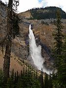 View of Takakkaw Falls on an overcast day; Yoho National Park, near Golden, British Columbia, Canada
