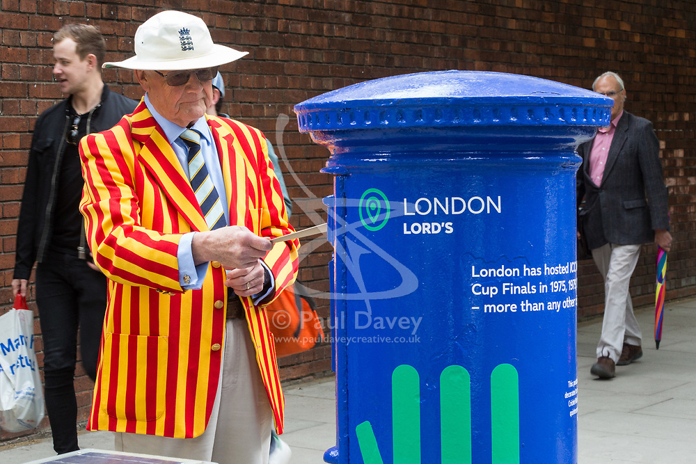 "Norman Dawson from Abingdon posts a letter in one of the special edition postboxes -<br /> created in collaboration with the International Cricket Council – outside Lord's<br /> Cricket Ground in London. To mark the launch of the ICC Cricket World Cup<br /> this week, the Company has decorated postboxes across the UK in each host<br /> city for the tournament, in honour of the quintessentially British game. The<br /> postboxes are located in London, Manchester, Nottingham, Chester-Le-<br /> Street, Cardiff, Bristol, Southampton, Birmingham, Taunton and Leeds, and<br /> will be transformed for the duration of the tournament."". Lords Cricket Ground, London, May 28 2019."