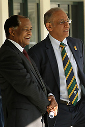 Bernard Ngoepe, independent chairperson of the CSA Anti-corruption unit and former judge president of the North and South Gauteng High Courts chats with CSA Chief Executive Haroon Lorgat during the press conference held by Cricket South Africa to announce the outcome of an Anti Corruption investigation.  It was announced that Jean Symes, formerly of the Lions was banned for 7 years, Pumelela Matshikwe, formerly of the Lions was banned for 10 years, Ethy Mbhalati, formerly of the Titans was banned for 10 years and Thami Tsolekile, a former Proteas's wicket keeper, contracted to and captain of the Lions was banned for 12 years.  The press conference was held at PPC Newlands Cricket Stadium in Cape Town, South Africa on the 8th August 2016<br /> <br /> Photo by:   Ron Gaunt / Real Time Images