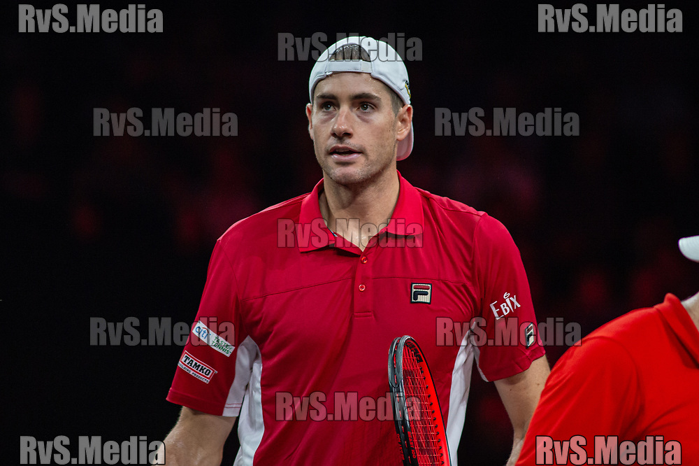 GENEVA, SWITZERLAND - SEPTEMBER 22: John Isner of Team World looks on during Day 3 of the Laver Cup 2019 at Palexpo on September 22, 2019 in Geneva, Switzerland. The Laver Cup will see six players from the rest of the World competing against their counterparts from Europe. Team World is captained by John McEnroe and Team Europe is captained by Bjorn Borg. The tournament runs from September 20-22. (Photo by Monika Majer/RvS.Media)