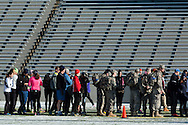 West Point, New York - Runners line up in Michie Stadium to register for the West Point Half-Marathon Fallen Comrades Run at the United States Military Academy on March 29, 2015.