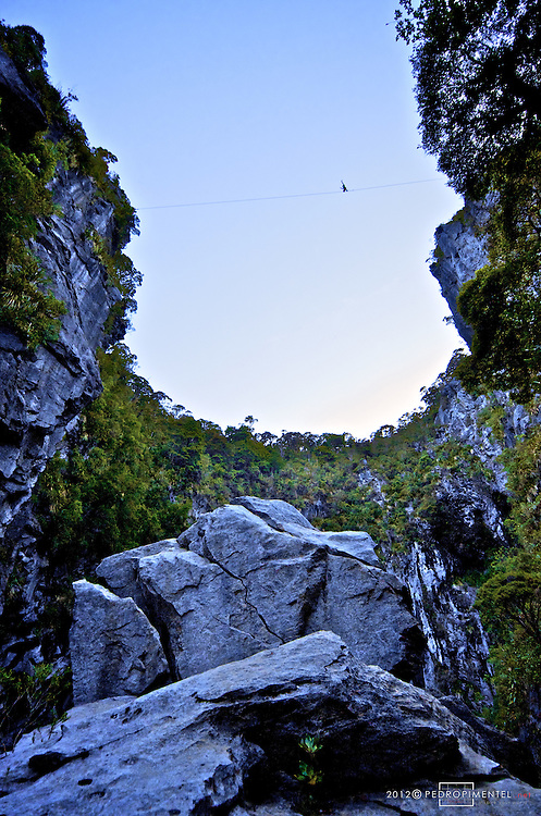 Florian Herla in another one of the many ascents made during the Harwoods hole project. New Zealand.