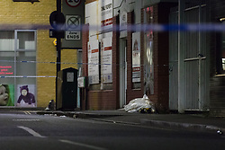 © Licensed to London News Pictures. 01/07/2018. London, UK. Medical items in a bag at the crime scene in Fairbridge Road in Islington, north London this evening. Police were called to Fairbridge Road at 18:50 tonight where a 14 year old boy was found suffering from stab wounds. An 11 year old by has been arrested on suspicion of attempted murder.  Photo credit: Vickie Flores/LNP