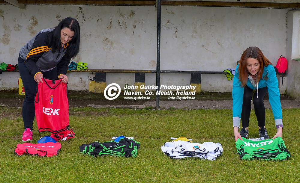 Joanne Devlin, (left) under 5's coach and Aishling Malone-Cashin, under 6's coach were  at the Dunboyne GFC new developement launch.<br /> <br /> Photo: GERRY SHANAHAN-WWW.QUIRKE.IE<br /> <br /> 09-05-2021
