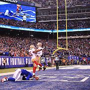 Larry Donnell, New York Giants, can't hold on to a late fourth quarter pass from Eli Manning action during the New York Giants V San Francisco 49ers, NFL American Football match at MetLife Stadium, East Rutherford, NJ, USA. 16th November 2014. Photo Tim Clayton