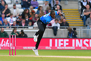 Jofra Archer of Sussex bowling during the Vitality T20 Finals Day semi final 2018 match between Sussex Sharks and Somerset County Cricket Club at Edgbaston, Birmingham, United Kingdom on 15 September 2018.