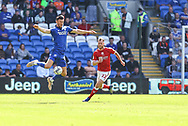 Cardiff City forward Kieffer More (10) claims the ball from Bristol City's Tomos Kalas (22) during the EFL Sky Bet Championship match between Cardiff City and Bristol City at the Cardiff City Stadium, Cardiff, Wales on 28 August 2021.