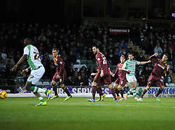 Yeovil Town's Joe Edwards goes close with a shot early on - Photo mandatory by-line: Joe Meredith/JMP - Tel: Mobile: 07966 386802 18/02/2014 - SPORT - FOOTBALL - Yeovil - Huish Park - Yeovil Town v Watford - Sky Bet Championship