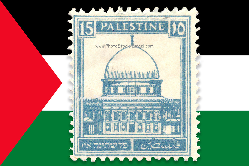 British Mandate Palestine stamp on Palestinian flag background