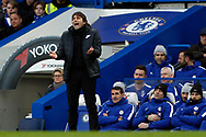 Chelsea Manager Antonio Conte shows his frustration.  Premier League match, Chelsea v Leicester City at Stamford Bridge in London on Saturday 13th January 2018.<br /> pic by Steffan Bowen, Andrew Orchard sports photography.