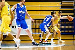 Jakov Stipaničev of Zlatorog Lasko vs Dino Murić of GGD Sencur during basketball match between GGD Sencur and Zlatorog Lasko in First Round of 1. SKL 2020/21, on October 31, 2020 in Sport hall Sencur, Sencur, Slovenia. Photo by Grega Valancic / Sportida