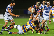 Auckland player AJ Lam fends off Bay of Plenty's Ross Geldenhuys during the Mitre 10 Cup match played at Rotorua International Stadium in Rotorua on Friday 2nd October 2020.<br /> Copyright photo: Alan Gibson / www.photosport.nz