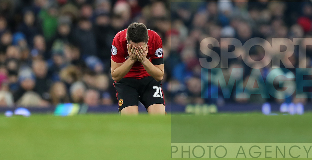 Ander Herrera of Manchester United reacts during the Premier League match at Goodison Park, Liverpool. Picture date: December 4th, 2016.Photo credit should read: Lynne Cameron/Sportimage