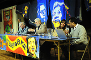 Machynlleth, Wales. 28th July, 2017. <br /> L-R Michael Williams, Allan Wynne Jones, Nicola Peel and Fidel Narvaez,  speaking at the festival opening plenary session, 'Another Future is Still Possible'.<br /> Photographer; Kevin Hayes