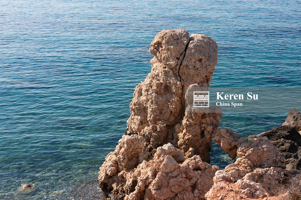 The rock of Aphrodite in the Mediterranean, Paphos (Pafos), Republic of Cyprus