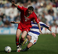 Photo: Lee Earle.<br /> Queens Park Rangers v Cardiff City. Coca Cola Championship. 21/04/2007.QPR's Adam Bolder (R) slides in on Chris Gunter.