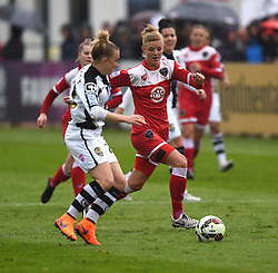 Bristol Academy's Sophie Ingle challenges Notts County Ladies FC captain Laura Bassett- Photo mandatory by-line: Paul Knight/JMP - Mobile: 07966 386802 - 25/04/2015 - SPORT - Football - Bristol - Stoke Gifford Stadium - Bristol Academy Women v Notts County Ladies FC - FA Women's Super League