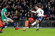 Tottenham Hotspur midfielder Dele Alli (20) plays a pass during the Premier League match between Tottenham Hotspur and West Bromwich Albion at Wembley Stadium, London, England on 25 November 2017. Photo by Andy Walter.