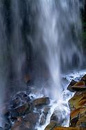 Base of Narada Falls during late Summer in Mount Rainier National Park, Washington State, USA