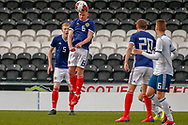 Ciaran Dickson (Rangers FC) headers the ball during the U17 European Championships match between Scotland and Russia at Simple Digital Arena, Paisley, Scotland on 23 March 2019.