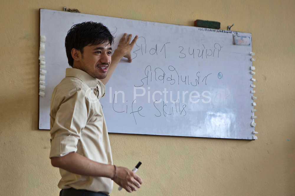 Sanjog Thakuri leads a training session in life skills in Bisaneu Voice of Children centre in Kathmandu, Nepal.  The session is part of the rehabilitation program run by Voice of Children.  The not-for-profit organisation supports street children and those who are at risk of sexual abuse through educational and vocational training opportunities, health services and psychosocial counseling.