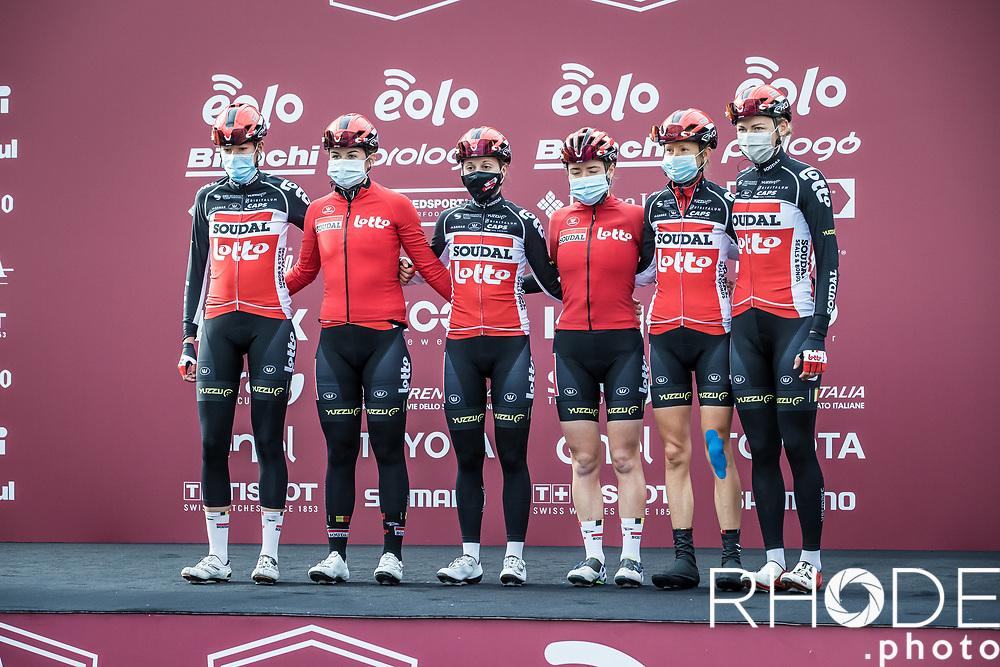 Team Lotto Soudal Ladies pre race team presentation<br /> <br /> 7th Strade Bianche Women Elite <br /> Siena > Siena 136km<br /> <br /> ©RhodePhoto