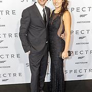NLD/Amsterdam/20151028 - Premiere James Bondfilm Spectre, dj Jeroen Nieuwenhuize en partner Tessa Kortlevers