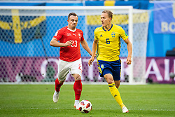 July 3, 2018 - St Petersburg, Russia - 180703 Xherdan Shaqiri of Switzerland and Ludwig Augustinsson of Sweden during the FIFA World Cup round of 16 match between Sweden and Switzerland on July 3, 2018 in ST Petersburg..Photo: Petter Arvidson / BILDBYRÃ…N / kod PA / 87748 (Credit Image: © Petter Arvidson/Bildbyran via ZUMA Press)