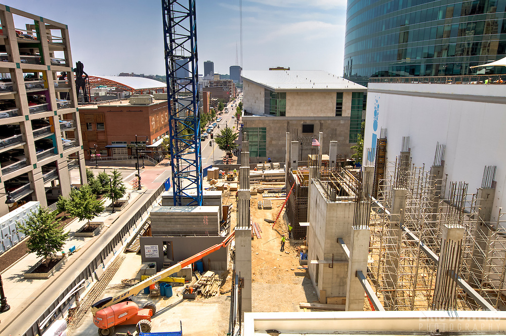 Early construction progress (July 21, 2014) on the One Light Tower at 13th & Walnut Streets,  downtown Kansas City, Missouri. The first planned new-built residential component to the Cordish Company's Power and Light District. Humphreys and Partners Architects, Kushner Companies, co-developer. JE Dunn Construction, general contractor.