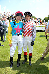 Left to right, KRISSI MURISON and LUCY HENMAN at the 3rd day of the 2013 Glorious Goodwood racing festival - Ladies day at Goodwood Racecourse, West Sussex on 1st August 2013.