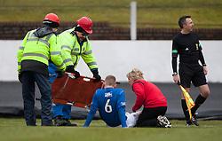 Cowdenbeath's Thomas O'Brein off injured..half time : Cowdenbeath v Hamilton, 9/3/2013..©Michael Schofield..
