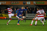 AFC Wimbledon striker Joe Pigott (39) dribbling into box during the The FA Cup match between AFC Wimbledon and Doncaster Rovers at the Cherry Red Records Stadium, Kingston, England on 9 November 2019.