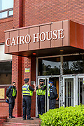 """Oldham, United Kingdom, June 21, 2021: Police cordoned the entry of Elbit Ferranti in Oldham as local communities along with their men, women and children are gathered to protest outside """"CAIRO House"""" on Monday, June 21, 2021. Following the arrest of Palestine Action activists who scaled the roof of """"Cairo House"""" on Monday morning, people are demanding an immediate shutdown of Elbit subsidiaries in Britain. This is the ongoing protest forms of the human rights activists group in the UK targeting Israeli owned weapons manufacturer Elbit Systems. Activists argue that arms being manufactured in the facility are being used in indiscriminate attacks against the Gaza Strip. (VX Photo/ Vudi Xhymshiti)"""