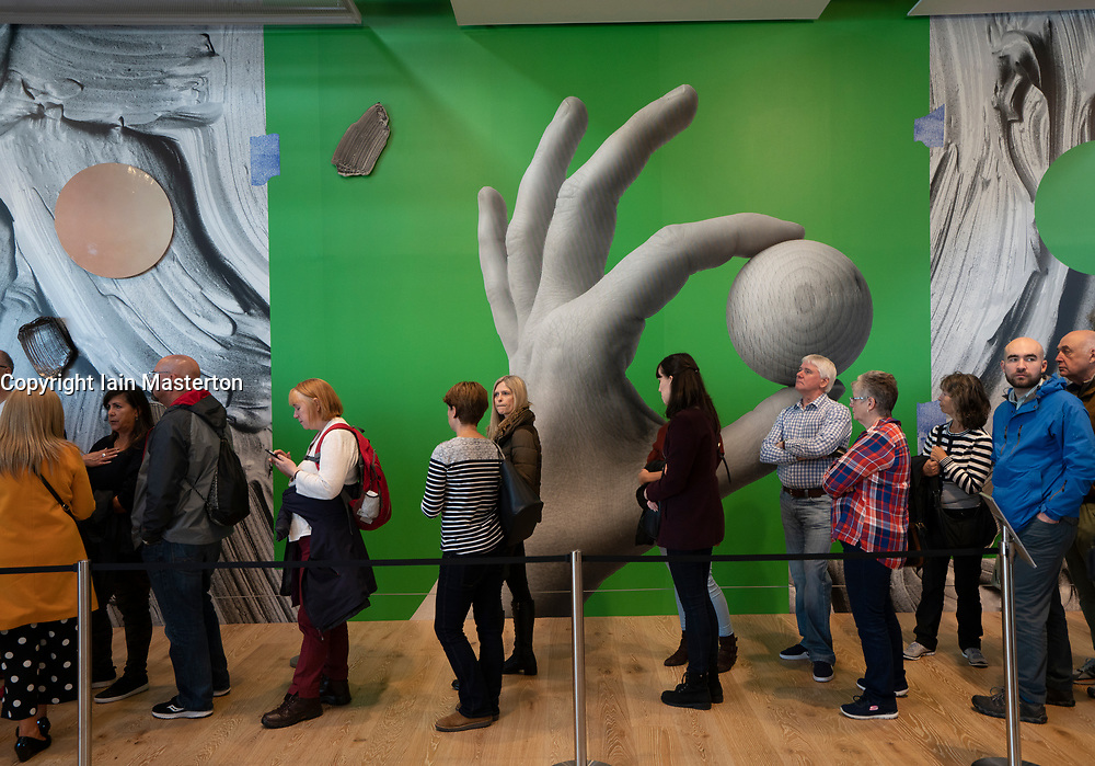 Interior of the new V&A Museum showing queue to enter Scottish Design Galleries on first weekend after opening in Dundee , Scotland, UK.