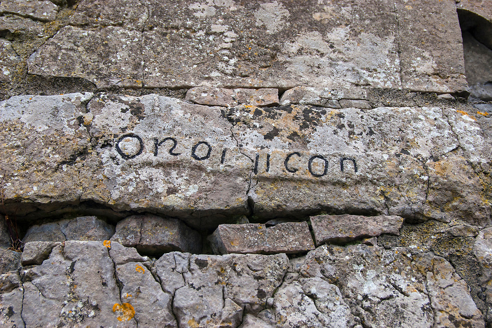 """OR AR 11 CANOIN - inscription saying """"pray for the two canons"""", Na Seacht Tempaill, The Seven Churches, Inishmore, Aran Islands"""