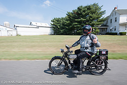 Richard Asprey of TX on his 1915 Norton during the Motorcycle Cannonball Race of the Century. Stage-1 from Atlantic City, NJ to York, PA. USA. Saturday September 10, 2016. Photography ©2016 Michael Lichter.