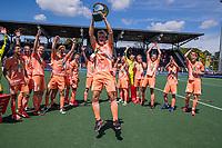 AMSTELVEEN - Thijs van Dam (Ned)  met beker  viert het kampioenschap tijdens de finale van het EK Hockey tussen Duitsland en Nederland in het Wagener Stadion op 12 juni 2021 in Amstelveen. COPYRIGHT KOEN SUYK