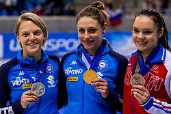 13-01-2018 DUI: ISU European Short Track Championships 2018 day 2, Dresden<br /> Arianna Fontana ITA # 9, Martina Valcepina ITA #138, Sofia Prosvirnova RUS #13