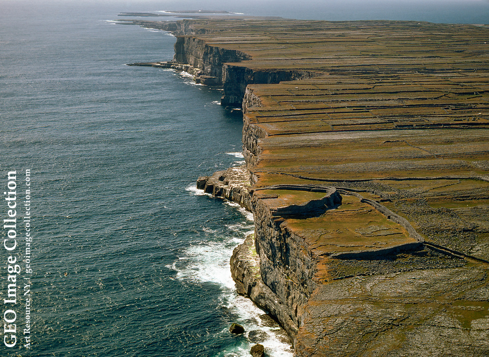 Aerial of 3,500 year-old Celtic fortress of Dun Aengus.