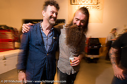 Paul D'Orleans and Stefan Hertel at the Pre-party for the Handbuilt Motorcycle Show at Revival Cycles. Austin, TX. April 9, 2015.  Photography ©2015 Michael Lichter.