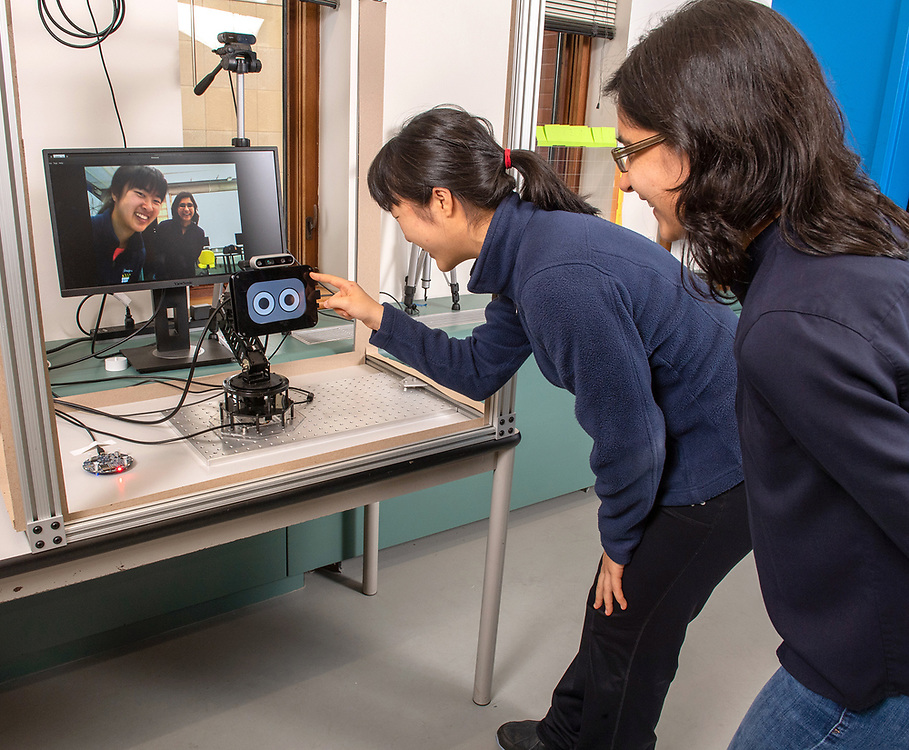 © Photo by Mara Lavitt<br /> October 3, 2019<br /> Yale School of Engineering and Applied Sciences, New Haven, CT<br /> <br /> Marynel Vazquez, assistant professor of computer science (with glasses) with student Annie Gao.