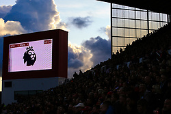 9 September 2017 -  Premier League - Stoke City v Manchester United - The Premier league logo is flashed onto the goat TV screen as the silhouetted Stoke fans look on - Photo: Marc Atkins/Offside