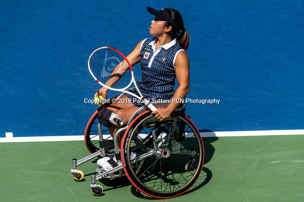 Yuri Kamiji of  Japan competing in the finals of the Wheelchair Women's Singles at the 2019 US Open Tennis