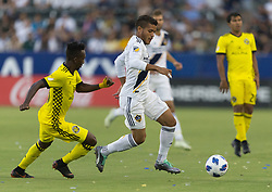 July 7, 2018 - Carson, California, U.S - Jonathan dos Santos #8 of the LA Galaxy with the ball during their MLS game with the Columbus Crew on Saturday July 7, 2018 at StubHub Center in Carson, California. LA Galaxy defeats Crew, 4-0. (Credit Image: © Prensa Internacional via ZUMA Wire)