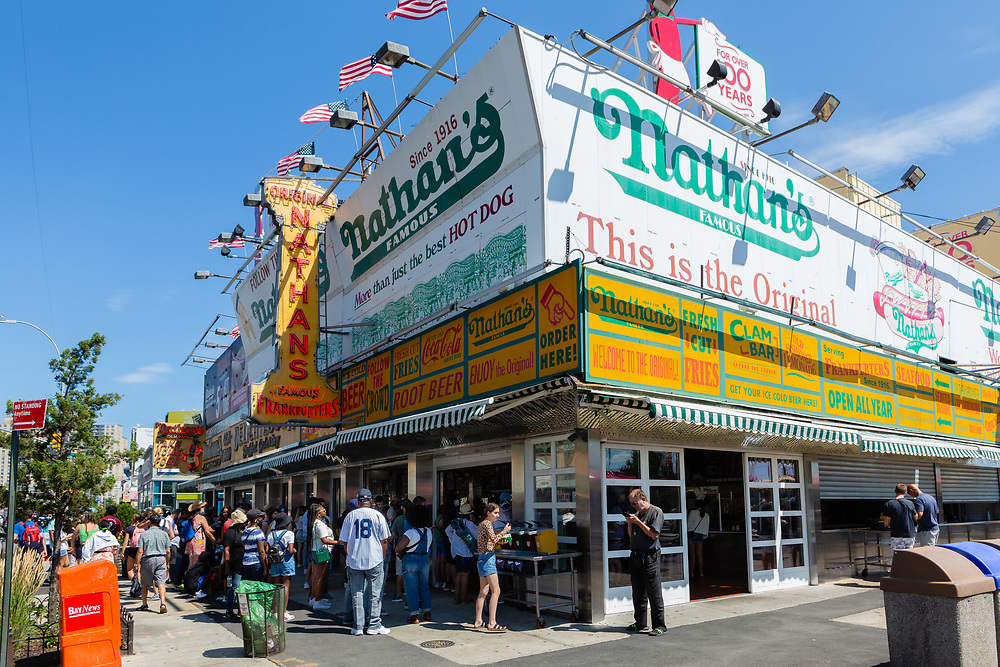 The main outpost of Nathan's, home of the famous hot dog eating contest every Fourth of July, is on the corner of Surf Avenue and Stillwell Avenue.