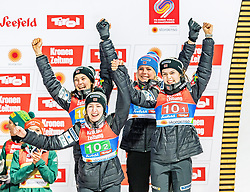 26.02.2019, Seefeld, AUT, FIS Weltmeisterschaften Ski Nordisch, Seefeld 2019, Skisprung, Damen, Siegerehrung, im Bild Bronzemedaillengewinnerin Anna Odine Stroem (NOR), Ingebjoerg Saglien Braaten (NOR), Silje Opseth (NOR), Maren Lundby (NOR) // Bronce medalist Anna Odine Stroem Ingebjoerg Saglien Braaten Silje Opseth Maren Lundby of Norway during the winner ceremony for the ladie's Skijumping HS109 competition of FIS Nordic Ski World Championships 2019. Seefeld, Austria on 2019/02/26. EXPA Pictures © 2019, PhotoCredit: EXPA/ Stefan Adelsberger
