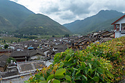 Elevated view of a Traditional town of Shigu, Yulong County, Yunnan, China