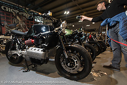 Custom BMW in the custom show at EICMA, the largest international motorcycle exhibition in the world. Milan, Italy. November 19, 2015.  Photography ©2015 Michael Lichter.